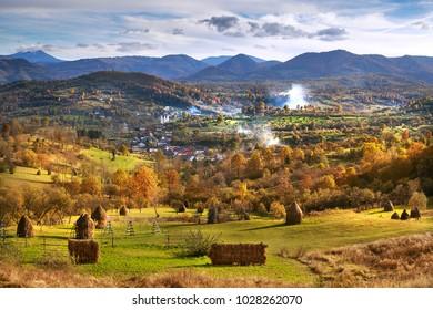 Picturesque autumn landscape in Maramures, Romania