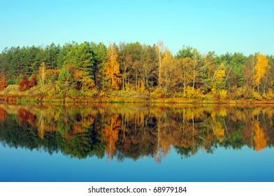 Picturesque autumn landscape on the river