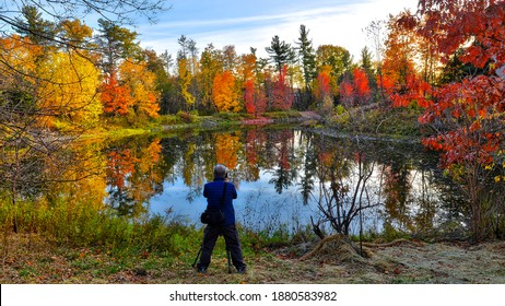 Picturesque autumn scenes of autumn leaf colour with the silhouette of a photographer