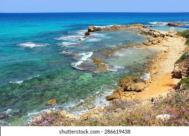 picturesque bay of the Mediterranean Sea, nature reserve Achziv in the Western Galilee, Israel