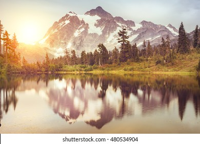 Picturesque of a beautiful mountain and reflection. Landscape of Washington State at Mt.Baker in Mt. Baker and Snoqualmie National Forest, USA.