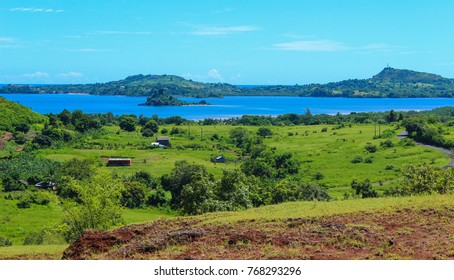 Picturesque blue skies, green hills and lush landscape in Nosybe, Madagascar