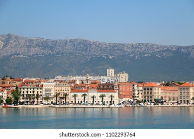Picturesque buildings on a promenade in Split, Croatia. Split is popular summer travel destination.