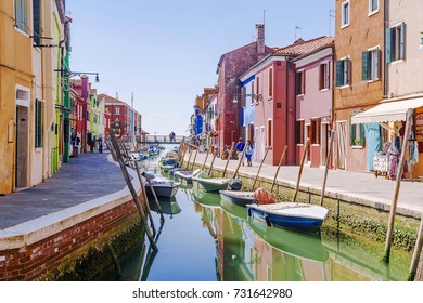 picturesque canals of the island of Burano, Italy