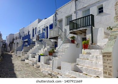 Picturesque castle with unique Cycladic architecture in Chora main village of Folegandros island, Cyclades, Greece