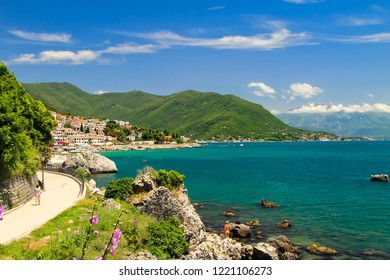 The picturesque city of Herceg Novi on the shore of the Kotor Bay of the Adriatic Sea, in the mountains of Montenegro