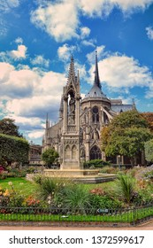 Picturesque cityscape of Cathedral of Notre Dame de Paris at spring, France