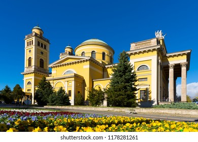 Picturesque cityscape of Eger with Cathedral Basilica on sunny autumn day, Hungary