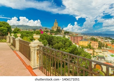 Picturesque cityscape of Messina. View from the balcony of Santuario Parrocchia S.Maria Di Montalto at The Cathedral of Messina. Sicily, Italy