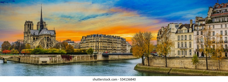 Picturesque cityscape of Seine and Cathedral of Notre Dame de Paris at autumn, France