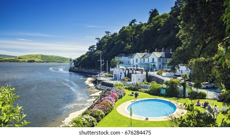 Picturesque Coastal Village of Portmeirion in North Wales, UK