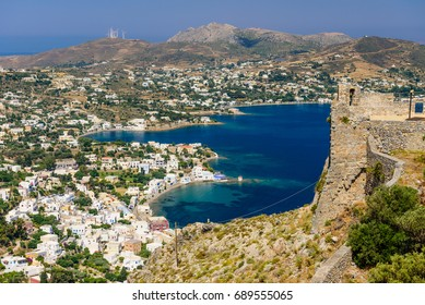 The picturesque coastline of Agia Marina village, the view from the castle of Agia Marina, Leros island, Dodecanese, Greece