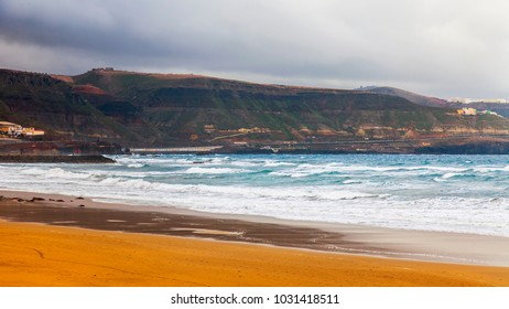 The picturesque coastline of a bay in the Atlantic Ocean
