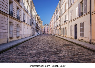Picturesque cobbled street in Paris, France