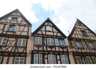 Picturesque Colmar city with the colorful traditional half-timbered houses, Alsace, Route des vins d'Alsace, France
