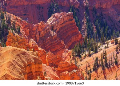 Picturesque colorful pink rocks of the Bryce Canyon National park in Utah, USA