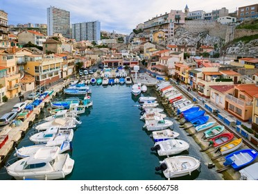 Picturesque colorful yacht port  in old center of Marseilles, France