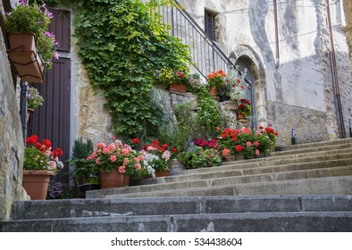 Picturesque corner of a small town in Italy during summertime.