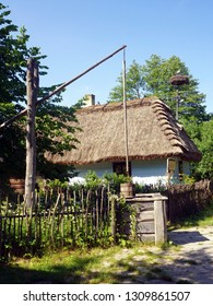 Picturesque cottage in open air folk museum in Guciow village, Poland, June 2017
