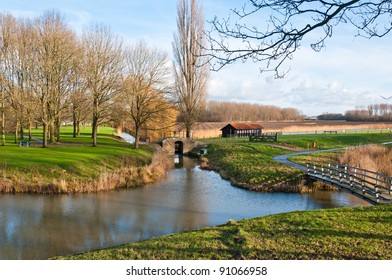 Picturesque countryside near the village of Klundert (municipality of Moerdijk, North Brabant, Netherlands) at the beginning of winter.