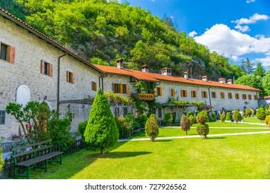 Picturesque courtyard of the monastery of Moraca. Montenegro.