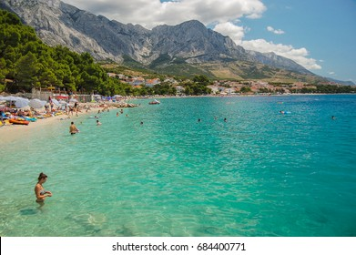 picturesque dalmatian beach in baska voda in croatia