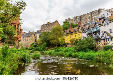 picturesque Dean Village along the river Leith in Edinburgh, Scotland