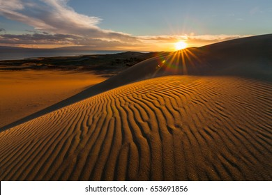 Picturesque desert landscape with a golden sunset over the dunes.
