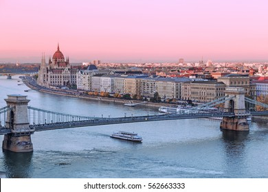Picturesque dusk scenery of Budapest historical downtown over Danube river delta.