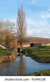 Picturesque Dutch countryside near the village of Klundert (municipality of Moerdijk, North Brabant) at the beginning of winter.
