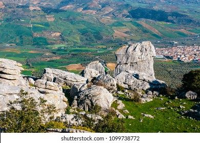 Picturesque examples of karst landscape, El Torcal de Antequera natural park, Andalusia, Spain