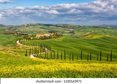 Picturesque farmland near Asciano village, Tuscany, Italy