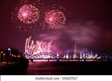 Picturesque fireworks over Riga, Latvia, 2016