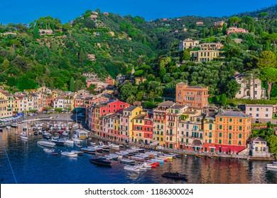 Picturesque fishing village and holiday resort Portofino in the Metropolitan City of Genoa on the Italian Riviera in Liguria, Italy
