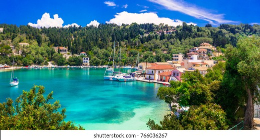 Picturesque fishing village Lakka in Paxos with turquoise sea, Ionian islands of Greece