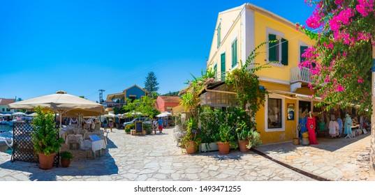 Picturesque Fiskardo village in Kefalonia island, Greece on August 29, 2019.
