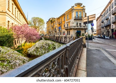 picturesque garden and typical street in neighborhood Brera, Milano - Italy