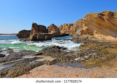 picturesque geological formations on the Nahsholim beach, the Haifa area, north of Israel
