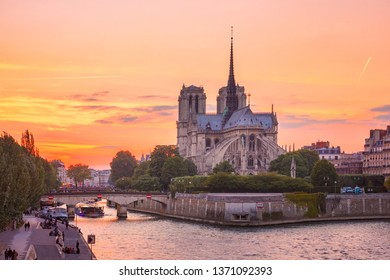 Picturesque grandiose sunset over Cathedral of Notre Dame de Paris, destroyed in a fire in 2019, Paris, France