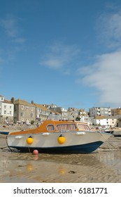 picturesque harbor at low tide