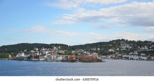 Picturesque harbor view of Arendal Norway