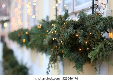 Picturesque house decorated with Christmas lights for Advent in Zagreb Upper Town, Croatia. Selective focus. Advent in Zagreb Fair was voted as the European Best Christmas Destination for 2016.