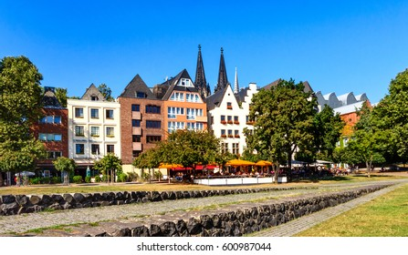 Picturesque houses in the old town on the Rhine river in Cologne, Germany
