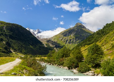 The picturesque Innergschloess valley near Matrei in Tirol, Austria, with the majestic Grossvenediger massive, Austria's glacier covered second talles mountain, in the background.