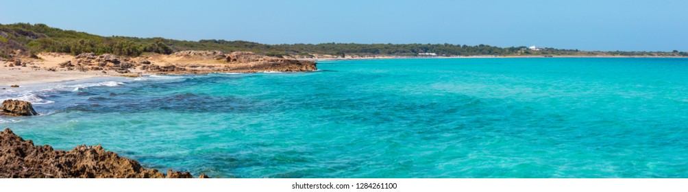 Picturesque Ionian sea beach Punta della Suina near Gallipoli town in Salento, Puglia, Italy.
