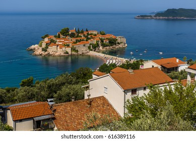 The picturesque islet of Sveti Stefan in the Adriatic near Budva, Montenegro during summer