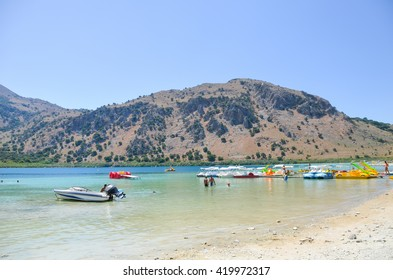 Picturesque Lake Kournas in Crete (Greece)
