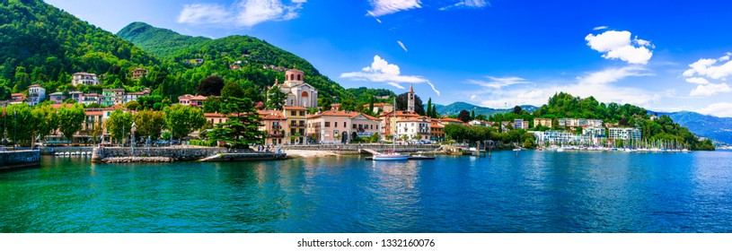 Der malerische Lago Maggiore. wunderschöne Stadt Laveno Mombello. Norditalien, Lombardei