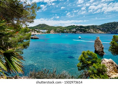 Picturesque landscape bright colors Cala en Cranc of Mallorca, beauty in nature turquoise Mediterranean Sea cloudy sky tropical trees and plants, moored luxury yacht on bay. Balearic Islands, Spain