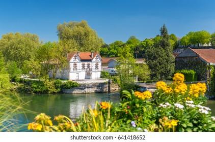 Picturesque landscape of the Charente River at Cognac - France